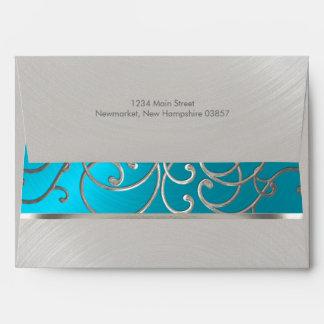 Quinceanera Turquoise Blue Silver Filigree Swirls Envelope