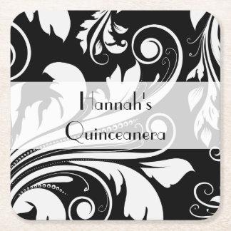 Quinceanera - Venetian Damask, Swirls - Black Square Paper Coaster