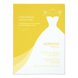 Quinceañera Vestido Amarillo Invitaciones Invitación 13,9 X 19,0 Cm