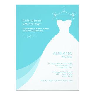 Quinceañera Vestido Azul Invitaciones Invitación 13,9 X 19,0 Cm
