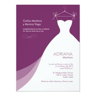 Quinceañera Vestido Púrpura Invitaciones Invitación 13,9 X 19,0 Cm