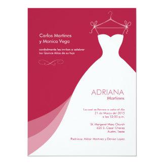 Quinceañera Vestido rojo Invitaciones 5.5x7.5 Paper Invitation Card
