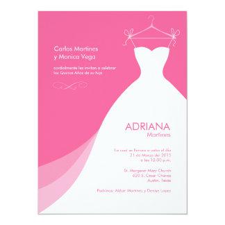 Quinceañera Vestido rosado Invitaciones 5.5x7.5 Paper Invitation Card