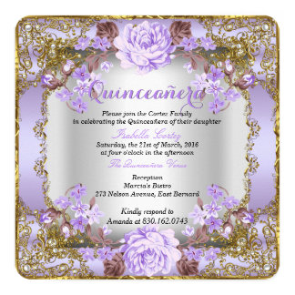 Quinceanera Vintage Country Floral Lavender Purple Card