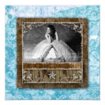 Quinceanera Vintage Photo Card Star Blue Custom Invites