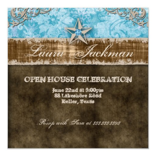 Quinceanera Vintage Photo Card Star Blue Personalized Announcements