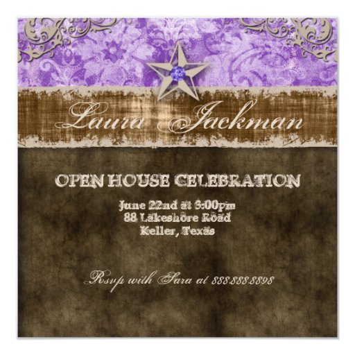 Quinceanera Vintage Photo Card Star Purple