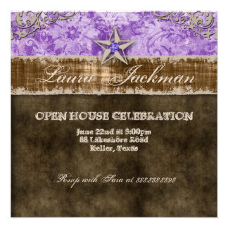 Quinceanera Vintage Photo Card Star Purple Personalized Announcement
