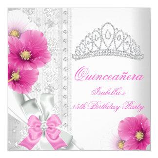 Quinceañera White Pink Floral Diamond Tiara 5.25x5.25 Square Paper Invitation Card