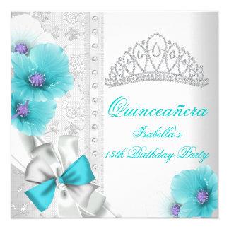 Quinceañera White Teal Blue Floral Diamond Tiara Invitation