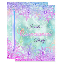 Quinceanera Winter Teal Blue Purple Pink Invitation