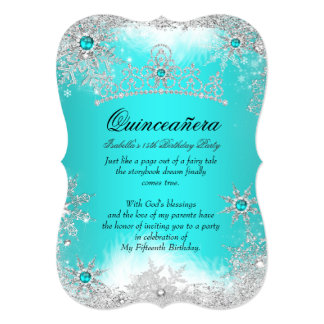 Quinceanera Winter Wonderland Aqua White Snow Card