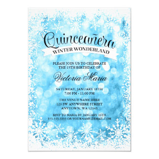 Quinceanera Winter Wonderland Blue Sparkle Card