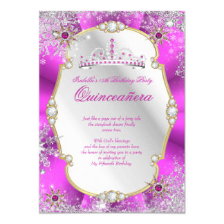 Quinceanera Winter Wonderland Hot Pink Gold Silver Card