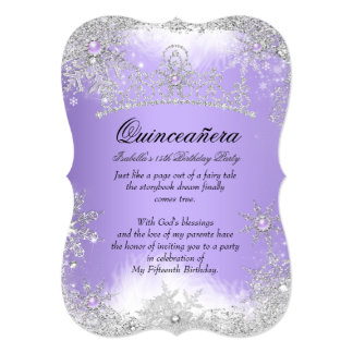 Quinceanera Winter Wonderland Lilac Purple Snow Card