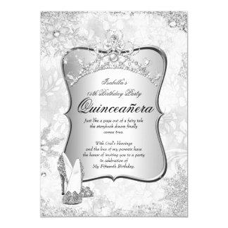 Quinceanera Winter Wonderland Silver Snowflake 2 5x7 Paper Invitation Card