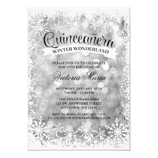 Quinceanera Winter Wonderland Silver Sparkle Card