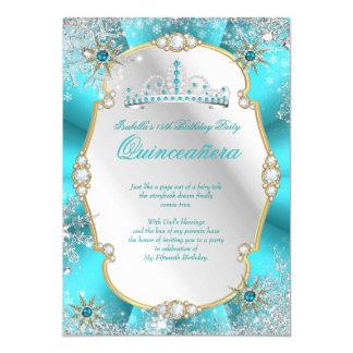 Quinceanera Winter Wonderland Teal Gold Silver Card