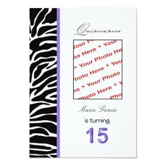 Quinceanera Zebra Themed 15th Birthday Invitation