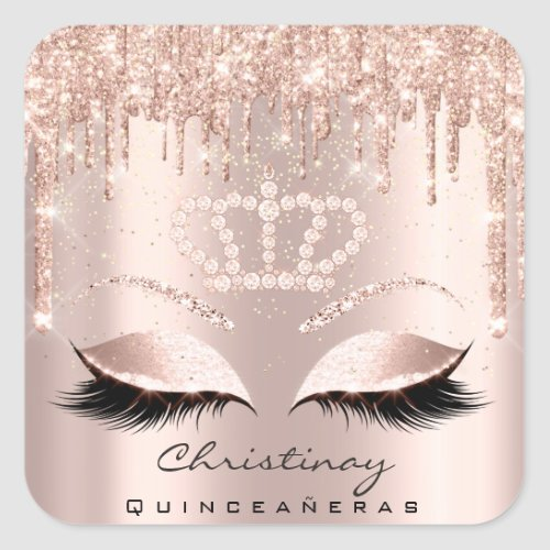 Quinceaeras Crown 16th 15th Bridal Rose Glitter Square Sticker