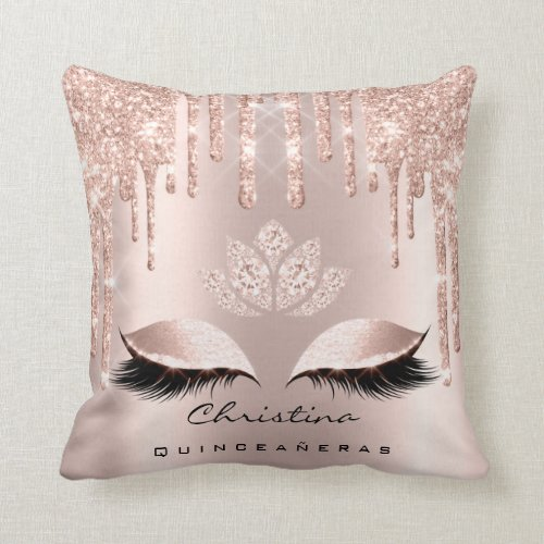 Quinceaeras Sweet 16th 15th Bridal Rose Princess Throw Pillow