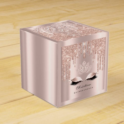 Quinceaeras Sweet 16th Bridal Rose Gold Spark Favor Box