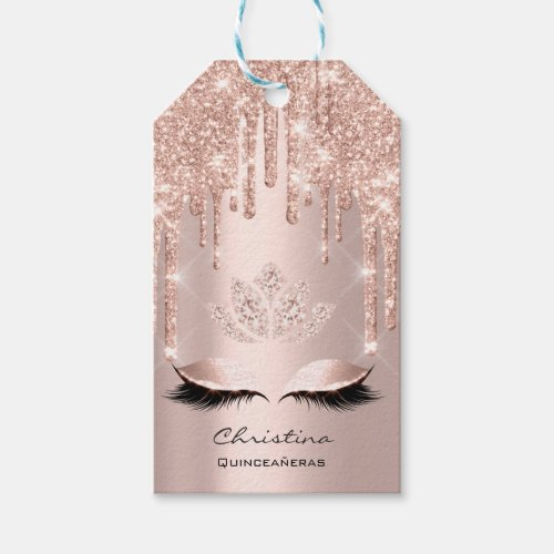 Quinceañeras Sweet 16th Rose Bridal Sparkly Diamod Gift Tags