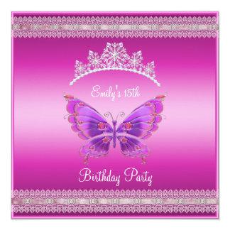 Quincenera 15th Fushia Pink Silver Tiara Butterfly Card