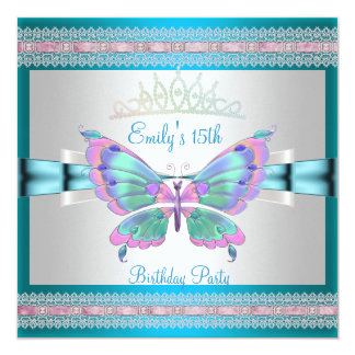 Quincenera 15th White Teal Blue Pink Butterfly Card