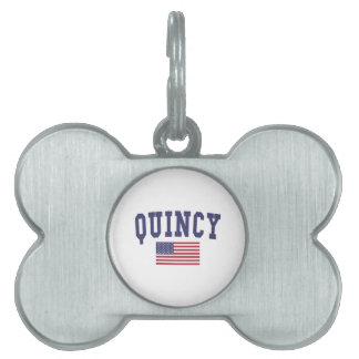 Quincy IL US Flag Pet Name Tag