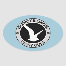 Oval Sticker with Quincy Ivory Gull design