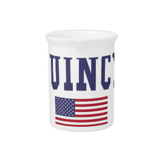 Quincy MA US Flag Beverage Pitcher