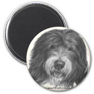 Quincy, Old English Sheepdog 2 Inch Round Magnet