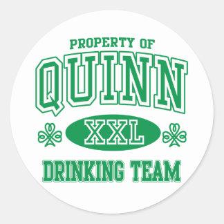 Quinn Irish Drinking Team Classic Round Sticker