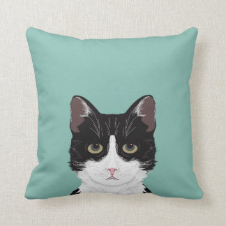 Quinn - Tuxedo Cat black and white cute kitty cat Throw Pillow