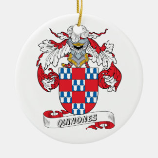 Quinones Family Crest Double-Sided Ceramic Round Christmas Ornament