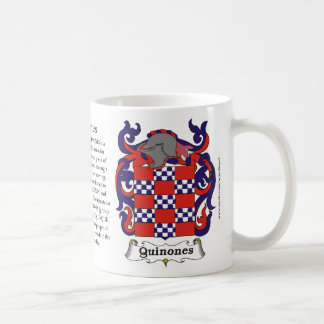 Quinones, Origin, Meaning and the Crest on a mug