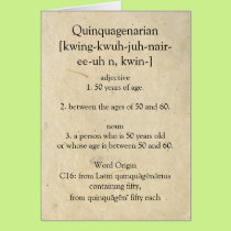 Quinquagenarian Dictionary Meaning Happy 50th Card