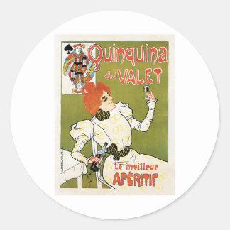 Quinquina Du Valet Le Meilleur Aperitif Drink Ad Round Stickers