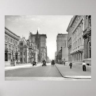 Quinta Avenida NYC Photograph (1908) del vintage Póster