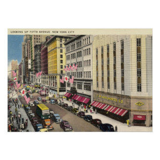 Quinta avenida., vintage de New York City Póster