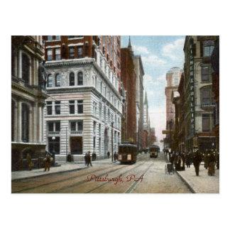 Quinta avenida. y postal de madera del vintage de