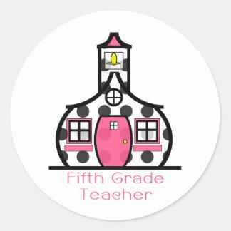 Quinta escuela del lunar del profesor del grado pegatina redonda