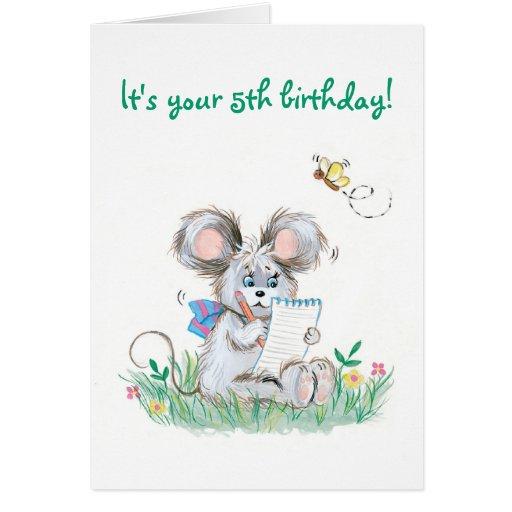 Quinta tarjeta de cumpleaños de los niños lindos d