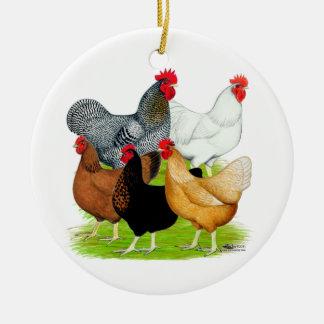 quinteto Sexo-ligado de los pollos Adorno Redondo De Cerámica