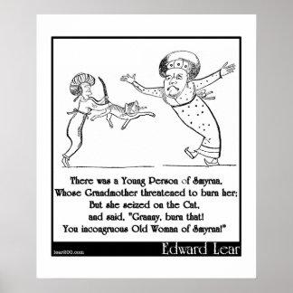 Quintilla de Edward Lear persona joven de Smyrna Poster