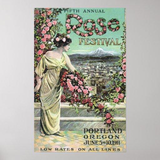 Quinto anuncio color de rosa anual del festival poster
