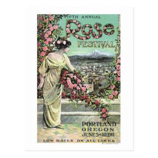 Quinto anuncio color de rosa anual del festival tarjetas postales
