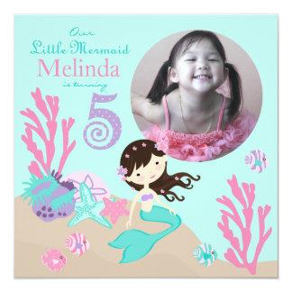 """Quinto cumpleaños de la sirena triguena invitación 5.25"""" x 5.25"""""""