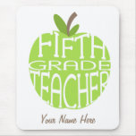 Quinto profesor Mousepad - Apple verde del grado Tapetes De Raton